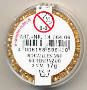 Rayher rocailles 2 mm goud met zilverdetail 17 gr 1406406 (Locatie: K3)