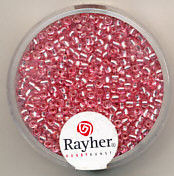 Rayher rocailles 2 mm roze met zilverdetail 17 gr. 1406416 (Locatie: K3)