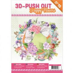 Stansboek Happy Flowers 24 afbeeldingen en 8 designpapier, 3DPO10015 (Locatie: 0432)