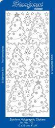 Starform sticker kerstbomen glitter zilver/goud 7071 (Locatie: J551 )