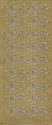 Starform stickervel prettige feestdagen goud 254 (Locatie: bb140)