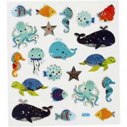Stickers, vel 15x16,5 cm, zeedieren, 27197 (Locatie: 0513)