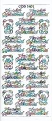 Stickervel Hartelijk Gefeliciteerd wit multicolor DD1401 (Locatie: U074)