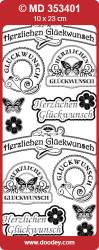 Stickervel Herzlichen Glückwunsch goud MD353401 (Locatie: F016)