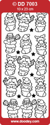 Stickervel zilver kerstsokken  DD7003 (Locatie: K194)