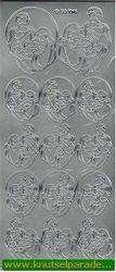 Stickervel zilver Maria, Jozef & Jezus DD7016 (Locatie: K197)