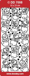 Stickervel zilver sneeuwmannetjes DD7008 (Locatie: K193)