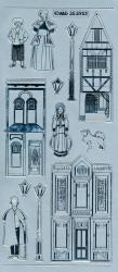 Stickervel zilver victoriaanse huisjes MD355952 (Locatie: e136)