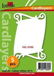 Lomiac oplegkaarten krullen A6 5 stuks ivoor LL2103 (Locatie: K058 )