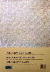 Holografisch papier Hartjes zilver 5 vel A4 HP-106 (Locatie: 4332)