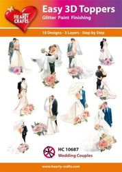 Hearty Crafts Easy 3D Toppers - Wedding Couples HC10687 (Locatie: 5R)
