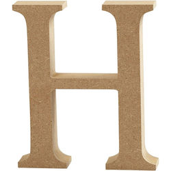 Letter H, hoogte 13 cm, dikte 2 cm, MDF, 1stuk (Locatie: KB)