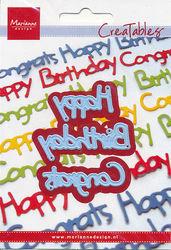 Marianne Design snij- en embosmal Happy Birthday Congrats LR0223 (Locatie: U367)