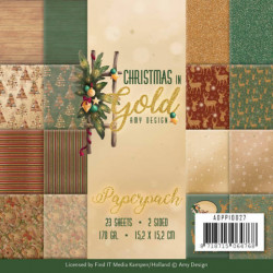 Amy Design, Paperpack, 15.2 x 15.2 cm, Christmas in Gold, ADPP10027 (Locatie: s2)