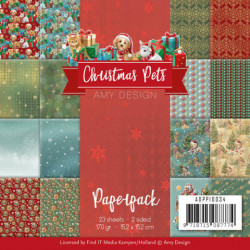 Amy Design, Paperpack, 15.2 x 15.2 cm, Christmas Pets, ADPP10034