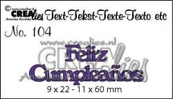 Crealies tekststans Feliz Cumpleaños (Spaans: Fijne Verjaardag) CLES104 (Locatie: C383)