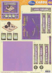 Disney Vintage - CARDS 3D Mickey Mouse Gefeliciteerd A4 knipvel CARDS 46 NL (Locatie: 1752)