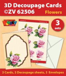 Doodey kaartenpakket om 3 bloemenkaarten te maken ZV62506 (Locatie: 4403)