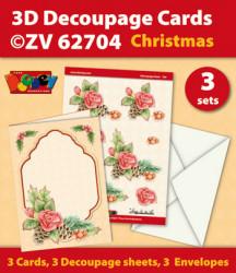 Doodey kaartenpakket om 3 kerstkaarten te maken ZV62704 (Locatie: 4403)