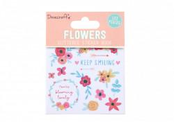Dovecraft bloemen glitter stickerboek, 8 vel (Locatie: c153)