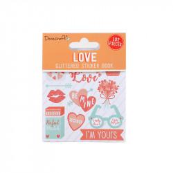Dovecraft liefde glitter stickerboek, 8 vel (Locatie: c032)