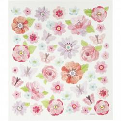 Glitter stickers, vel 15x16,5 cm, bloemen, 27192 (Locatie: 0216)