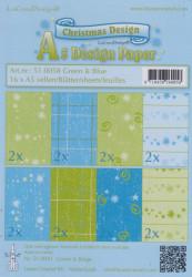 Le Crea Design, design paper, Green & Blue, A5 51.0058 (Locatie: s2)