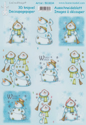 Le Crea knipvel Snowman winter wishes 500034 (Locatie: 4413)