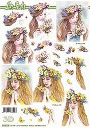 Le Suh knipvel Dame met bloemen/vlinder 8215718 (Locatie: 2786)