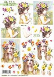 Le Suh knipvel Meisje met bloemen 8215715 (Locatie: 2786)