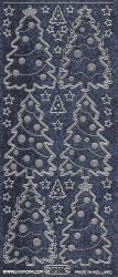 Starform sticker kerstbomen zwarte glitter met zilver 7071 (Locatie: J553)