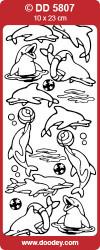 Stickervel dolfijnen zilver DD5807 (Locatie: U231)