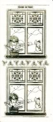 Stickervel raam met kaars transparant goud MD357053 (Locatie: U255)