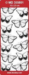 Stickervel transparant zilver vlinders MD355801 (Locatie: H415 )