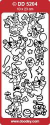 Stickervel zilver clowns DD5204 (Locatie: B248)