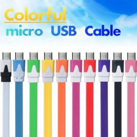 Цветен плосък Micro USB – USB кабел. изображения