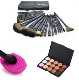 Професионален комплект № 5 15 цвята коректори + 24бр четки за грим естествен косъм с калъфче + гъбичка за почистване на четки изображения