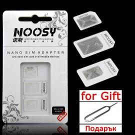 Комплект SIM card адаптори + подарък игла за изваждане на карта. изображения