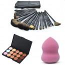 Професионален комплект № 4 15 цвята коректори + 24бр четки за грим естествен косъм с калъфче + гъбичка за нанасяне