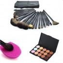 Професионален комплект № 5 15 цвята коректори + 24бр четки за грим естествен косъм с калъфче + гъбичка за почистване на четки