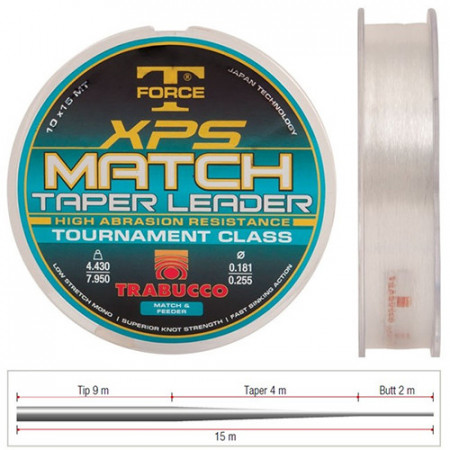 Fir Trabucco XPS Match Taper Leader 0,203-0,327mm/5,300-10,350Kg/10x15m
