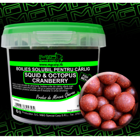 Boilies carlig solubil MG special carp Squid&Octopus Cranberry