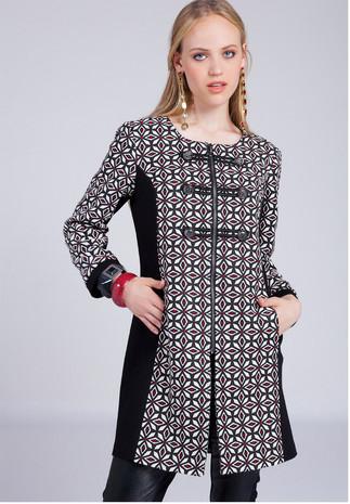 Palton imprimeu jaquard SAVANNA Angy Six