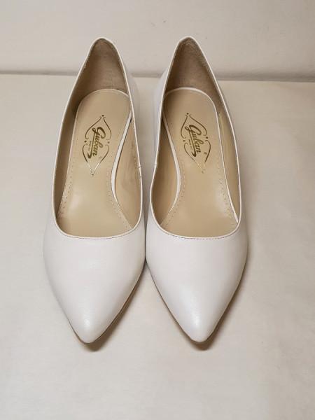 Pantofi alb sidefat, 3305, Guban