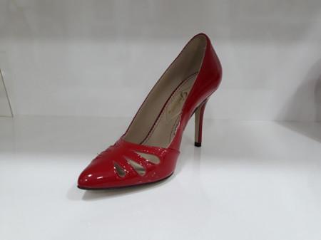 Pantofi Guban 1104 piele lac rosu