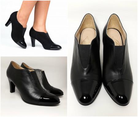 Pantofi Guban, piele naturala, toc 7,5 cm, culoare negru, numere 26.5 si 27