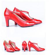 Pantofi Guban, piele naturala, toc 7,5cm, culoare negru, numar 27.