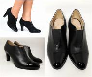 Pantofi Guban, piele naturala box combinat cu lac, culoare negru, numere 26.5 si 27