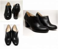 Pantofi Guban, piele naturala box cu lac, toc 7,5cm, culoare negru.