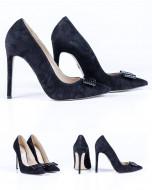 Pantofi Guban, piele velur, toc 11,5cm, culoare negru